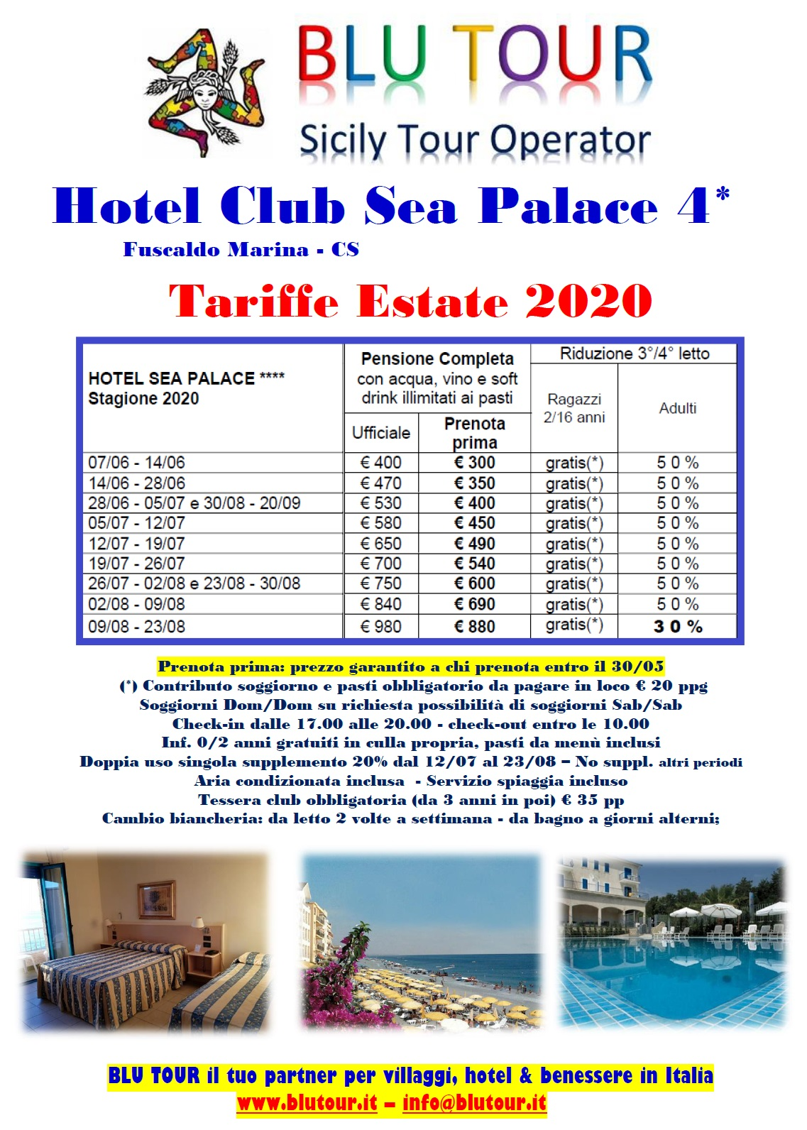 SEA PALACE TARIFFE